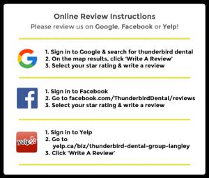 Online review instructions Thunderbird Dental